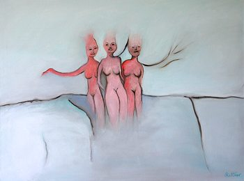"Dancing Women - copyright 2009 Florence Rittner - Oil on canvas size 30""x40"""