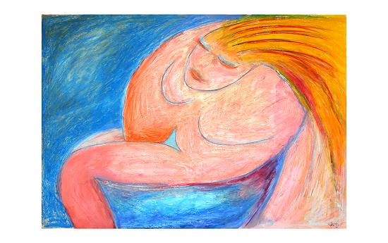 "Bathing Woman - copyright D. Florence Rittner - Oil Stick, Oil paint on water color paper 30""x20"""